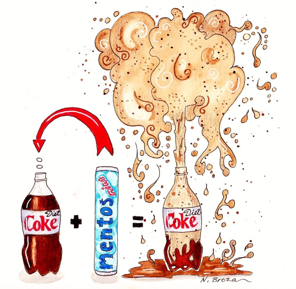 Mentos and Coke illustration. A fun at home activity